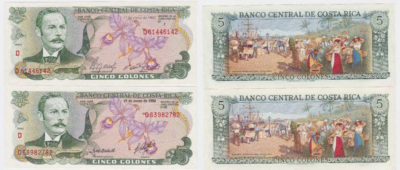 2 Banknoten Costa Rica kassenfrisch (120661)