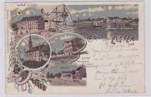 90815 Ak Lithographie Gruß von Elster Elbe Gasthof zum Anker usw. 1899