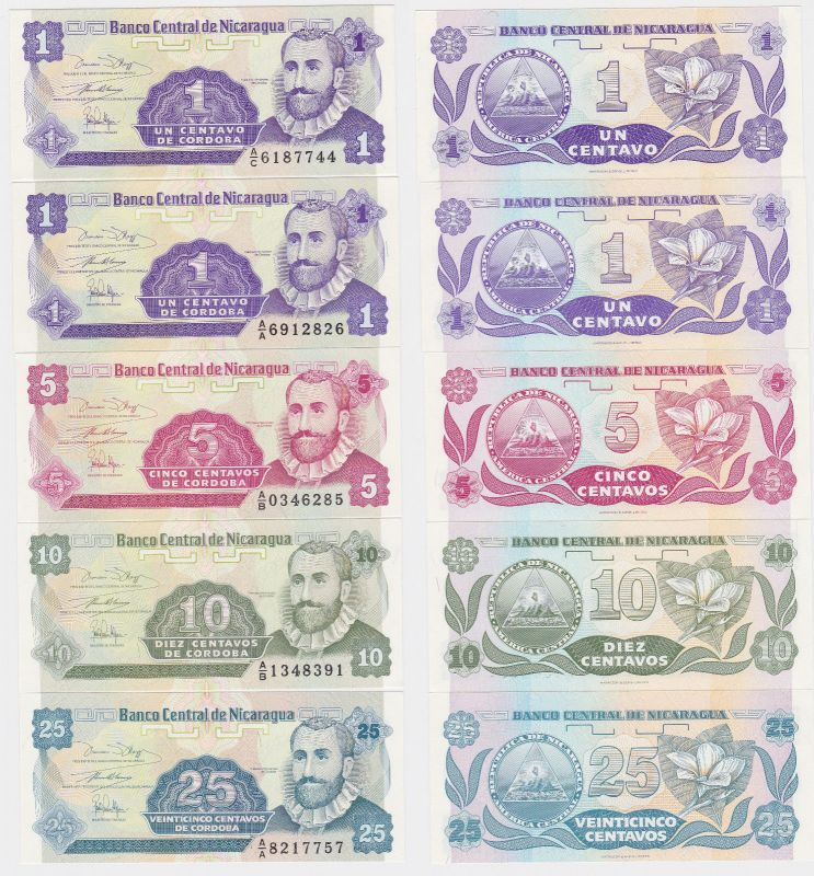 5 Banknoten Nicaragua kassenfrisch (120386)