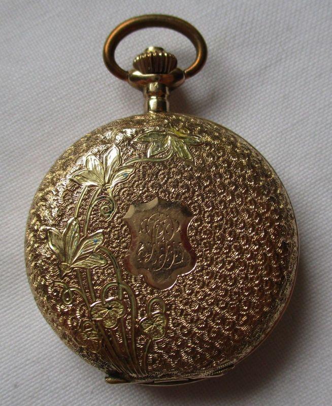 Charmante Damen Savonette Taschenuhr 585er Gold Sprungdeckel Blumen (107187)