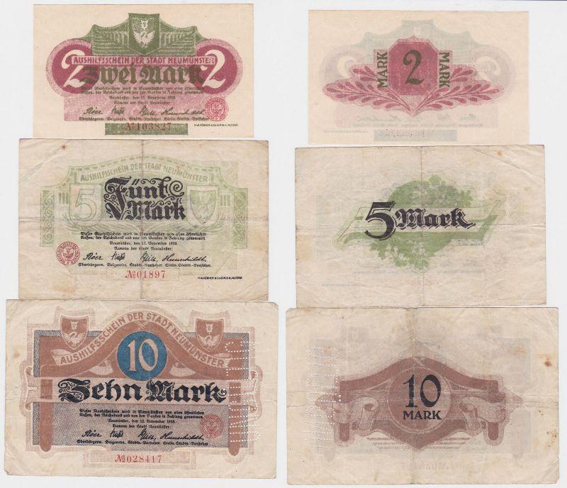 2, 5 und 10 Mark Banknoten Notgeld Stadt Neumünster 1918 (120824)