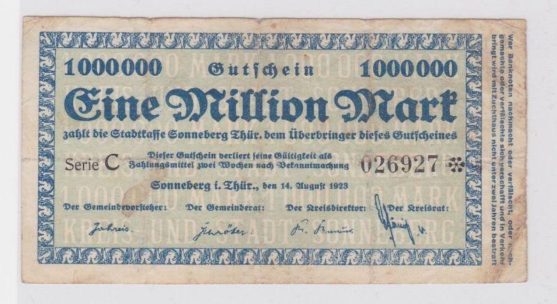1 Million Mark Banknote Stadt Sonneberg 14.08.1923 (121282)