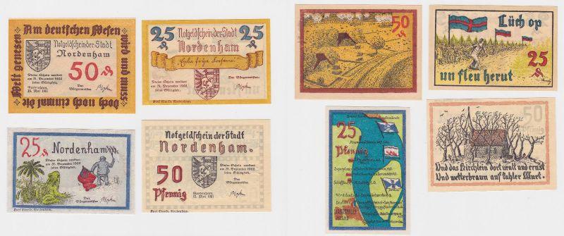 2 x 25 & 2 x 50 Pfennig Banknote Notgeld Stadt Nordenham 1921 (120458)
