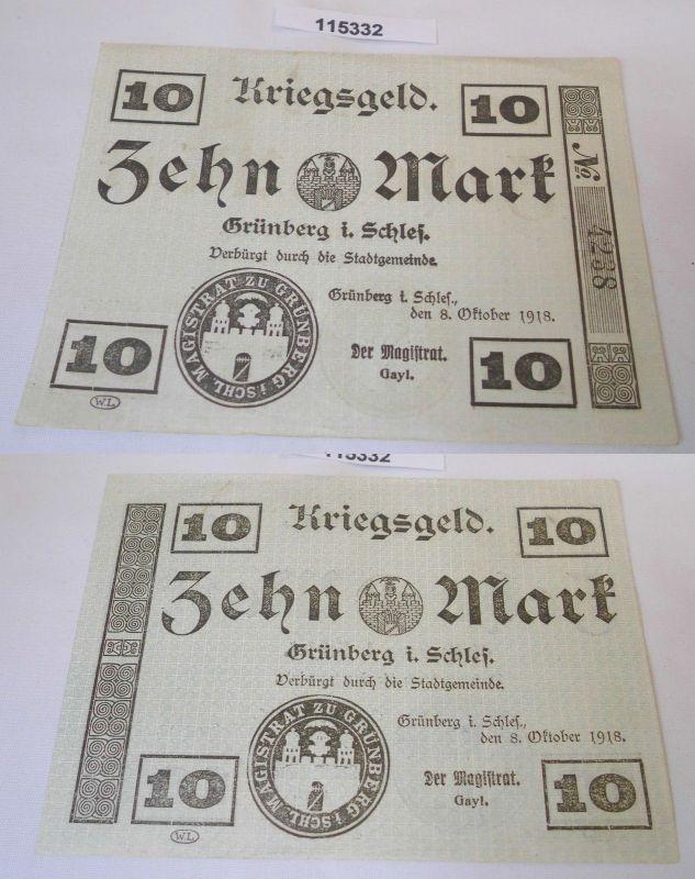 10 Mark Banknote Notgeld Stadt Grünberg in Schlesien 8.Oktober 1918 (115332)