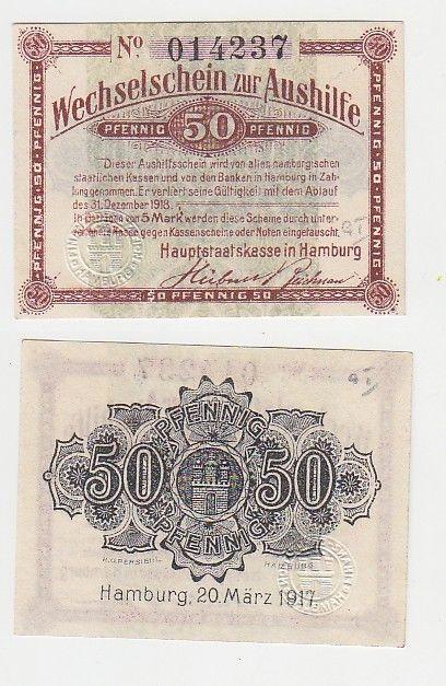 50 Pfennig Wechselschein zur Aushilfe Hamburg 20.März 1917 (115605)