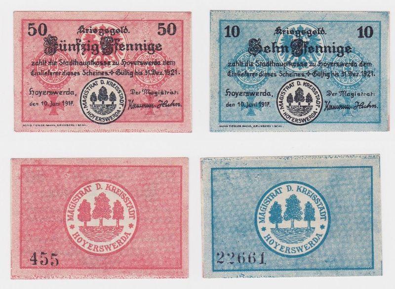 10 & 50 Pfennig Banknoten Notgeld Stadt Hoyerswerda 10.Juni 1917 (120606)