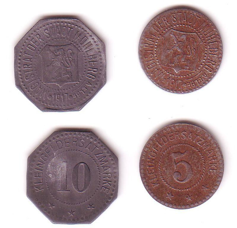5 und 10 Pfennig Notgeld Zink/Eisen Münzen Stadt Mühlberg a.E. 1917 (112312)