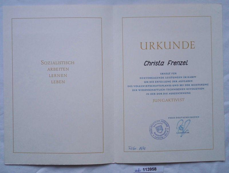 DDR Urkunde Auszeichnung Jungaktivist Stadtbezirk Leipzig Nord 1971 (113958)