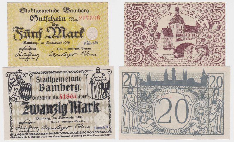 5 und 20 Mark Banknoten Notgeld Stadt Bamberg 1918 (120609)