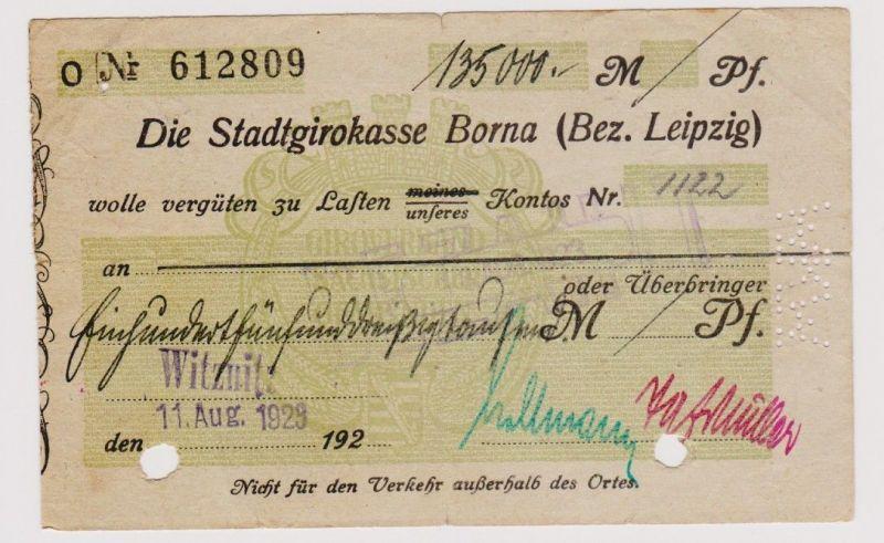 Firmenscheck 135000 Mark Banknote Stadtgirokasse Borna 11.8.1923 (120729)
