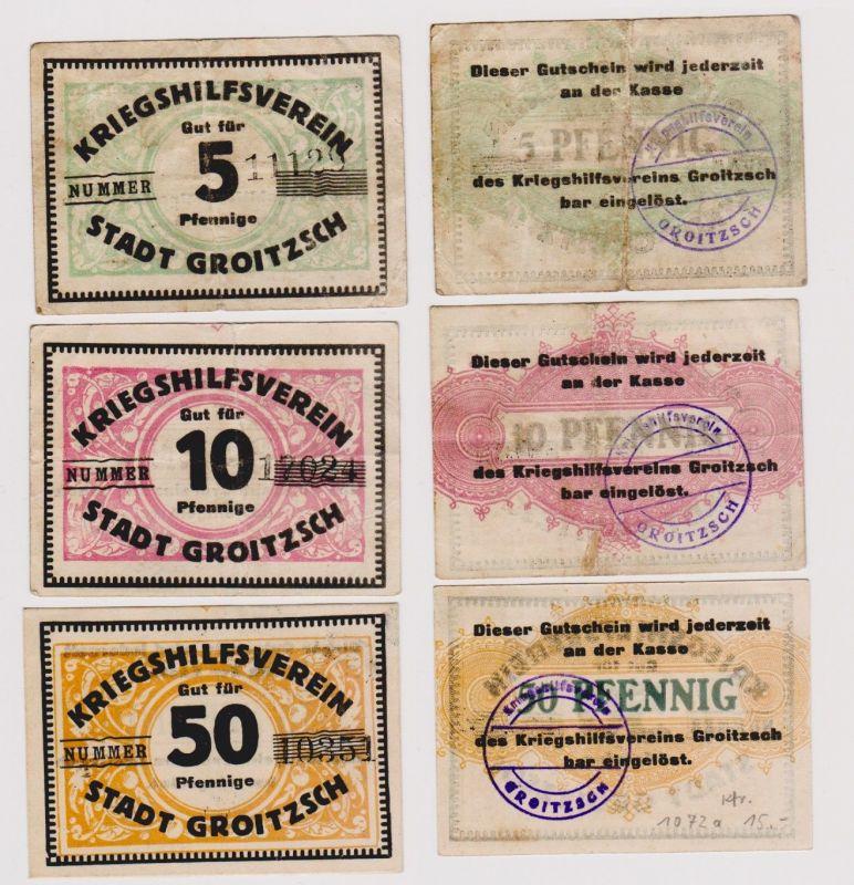 5, 10 & 50 Pfennig Banknoten Kriegshilfsverein Stadt Groitzsch (120750)
