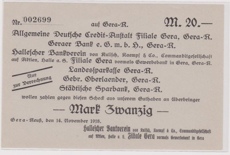 20 Mark Banknote Gera Reuss Hallescher Bankverein 14.11.1918 (120851)