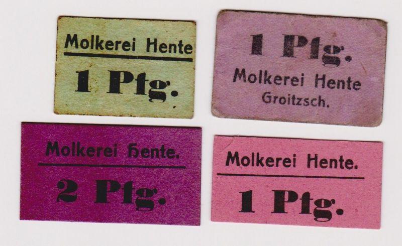 4 Banknoten Notgeld Molkerei Hente Groitzsch ohne Datum (120326)