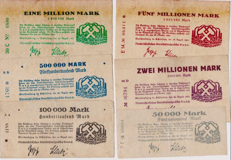 6 Banknoten Waldenburg Niederschlesisches Steinkohlensyndikat GmbH 1923 (120448)