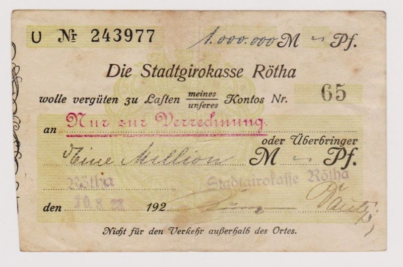 Firmenscheck 1 Million Mark Banknote Stadtgirokasse Rötha 10.8.1923 (120291)
