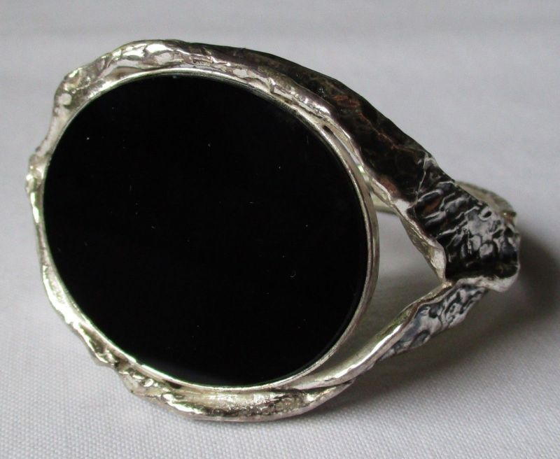 Schöner 925er Sterling Silber Designer Armreifen Armband m. großem Onyx (126499)
