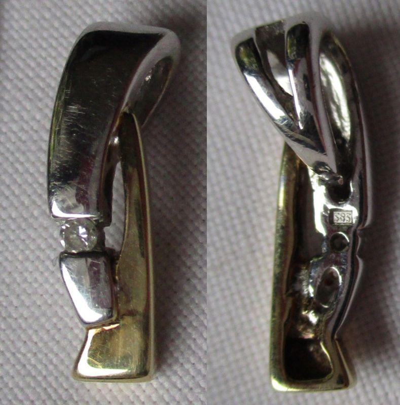 Eleganter Bi-Color Ketten Anhänger aus 585er Gold mit kleinem Diamant (110763)