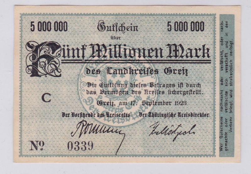 5 Millionen Mark Banknote Inflation Landkreis Greiz 17.9.1923 (126564)