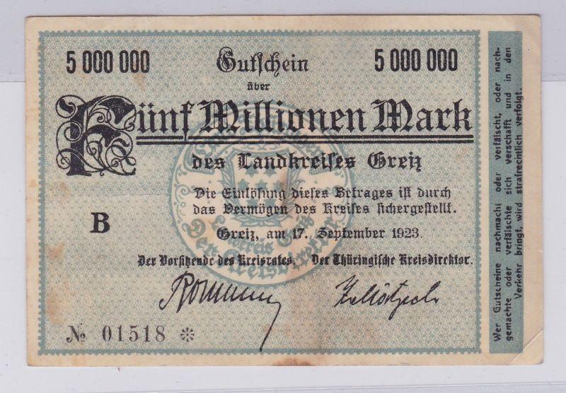 5 Millionen Mark Banknote Inflation Landkreis Greiz 17.9.1923 (125944)