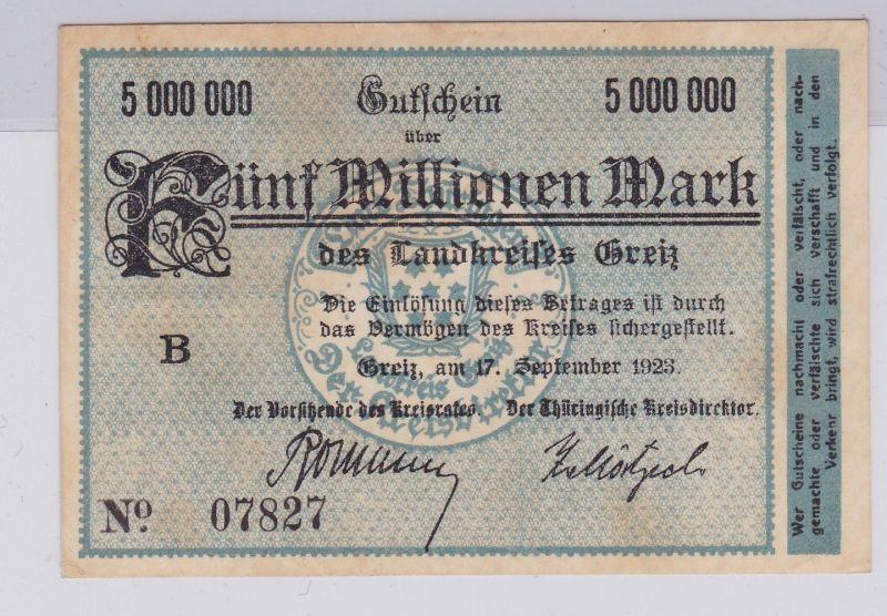 5 Millionen Mark Banknote Inflation Landkreis Greiz 17.9.1923 (126567)