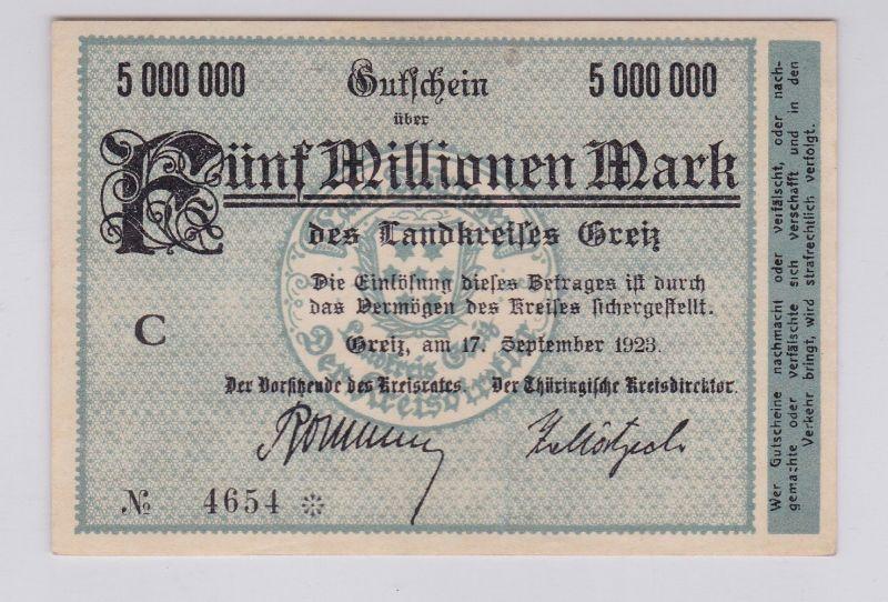 5 Millionen Mark Banknote Inflation Landkreis Greiz 17.9.1923 (126158)