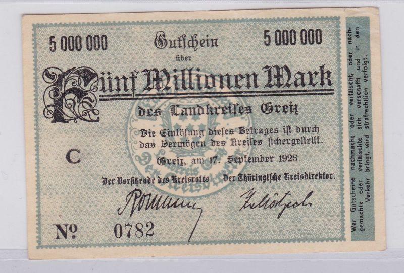5 Millionen Mark Banknote Inflation Landkreis Greiz 17.9.1923 (126147)