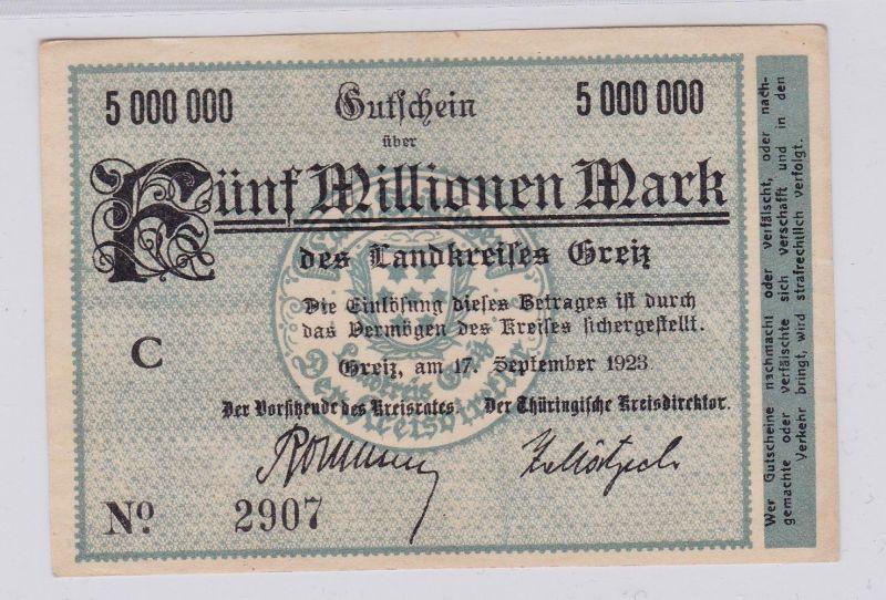 5 Millionen Mark Banknote Inflation Landkreis Greiz 17.9.1923 (126629)