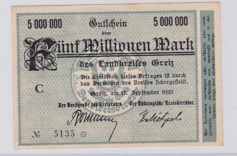 5 Millionen Mark Banknote Inflation Landkreis Greiz 17.9.1923 (126563)