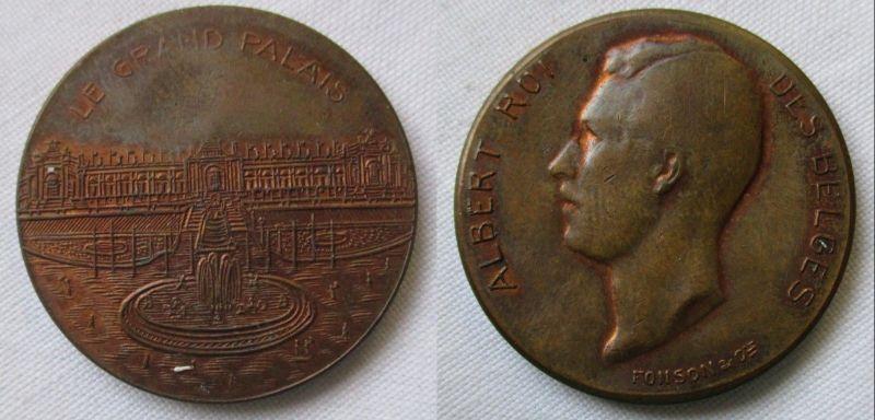 Bronzemedaille König Albert von Belgien Le Grand Palais Signatur Fonson (126632)