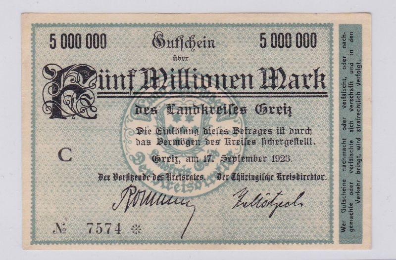 5 Millionen Mark Banknote Inflation Landkreis Greiz 17.9.1923 (126283)