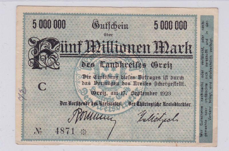 5 Millionen Mark Banknote Inflation Landkreis Greiz 17.9.1923 (126605)