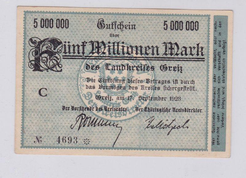 5 Millionen Mark Banknote Inflation Landkreis Greiz 17.9.1923 (126289)
