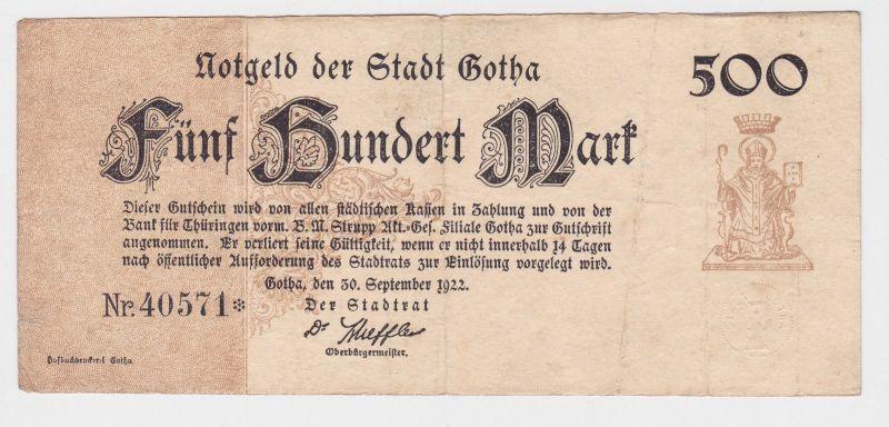500 Mark Banknote Inflation Notgeld Stadt Gotha 30.9.1922 (126159)