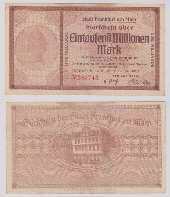 1 Milliarde Mark Banknote Stadt Frankfurt am Main 18.10.1923 (126217)