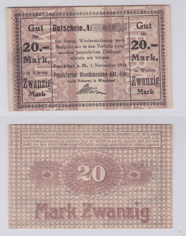 20 Mark Banknote Notgeld Frankfurter Maschinenbau AG 1.11.1918 (126457)