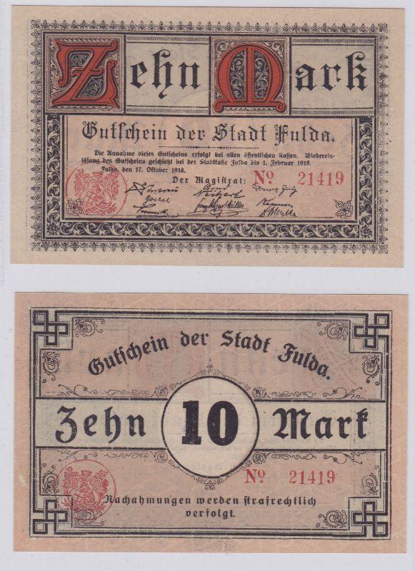 10 Mark Banknote Notgeld Stadt Fulda 17.10.1918 (125932)