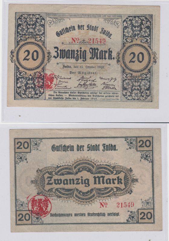 20 Mark Banknote Notgeld Stadt Fulda 17.10.1918 (125929)