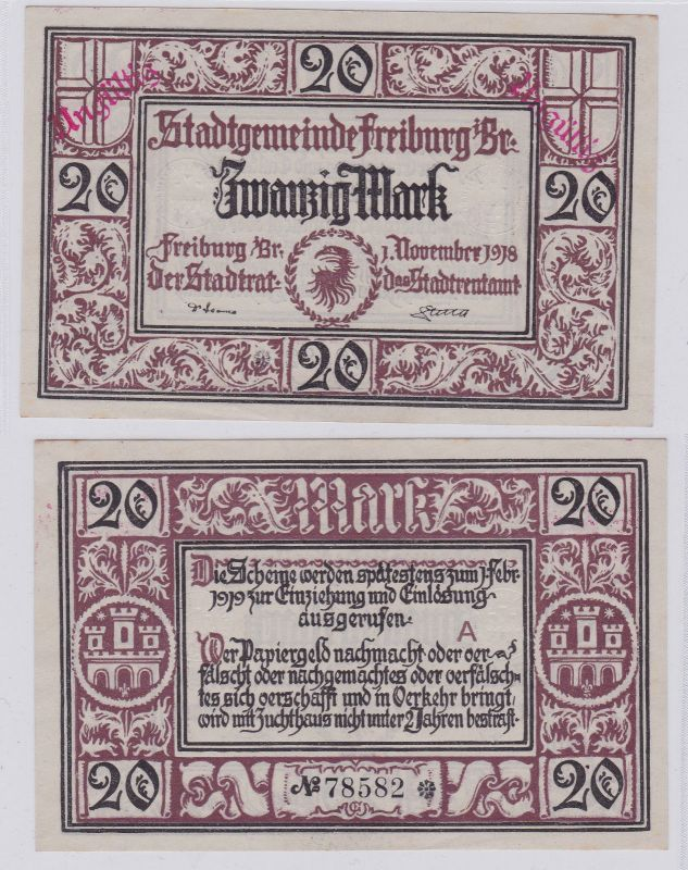 20 Mark Banknote Notgeld Stadtgemeinde Freiburg 1.11.1918 (126398)