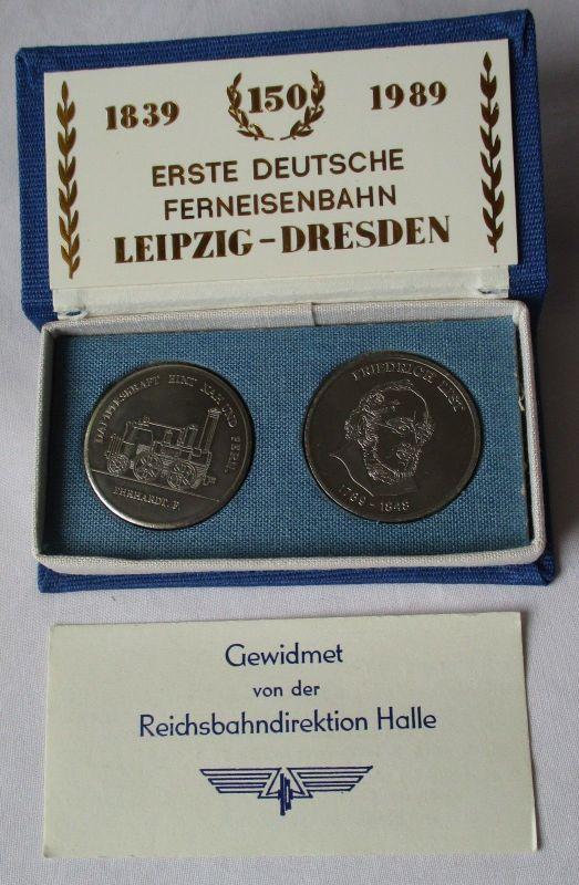 DDR Medaillen 150 Jahre 1. Deutsche Ferneisenbahn Leipzig-Dresden 1989 (112234)