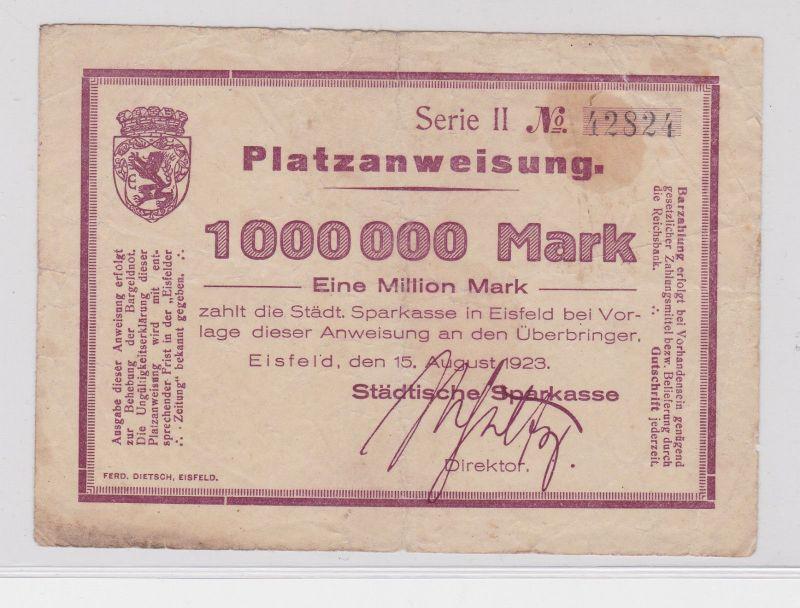 1 Million Mark Banknote Inflation Städt.Sparkasse Eisfeld 15.8.1923 (125954)
