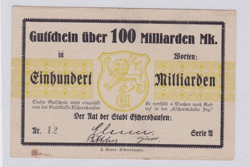 100 Milliarden Mark Banknote Inflation Stadt Eschershausen ohne D. 1923 (126219)