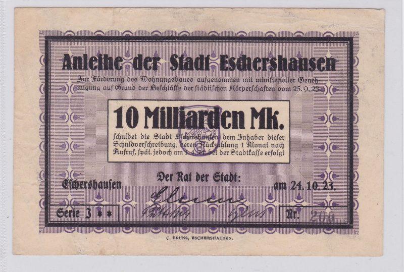 10 Milliarden Mark Banknote Inflation Stadt Eschershausen 24.10.1923 (126369)