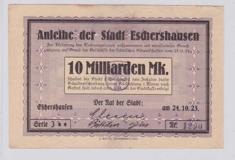 10 Milliarden Mark Banknote Inflation Stadt Eschershausen 24.10.1923 (125909)