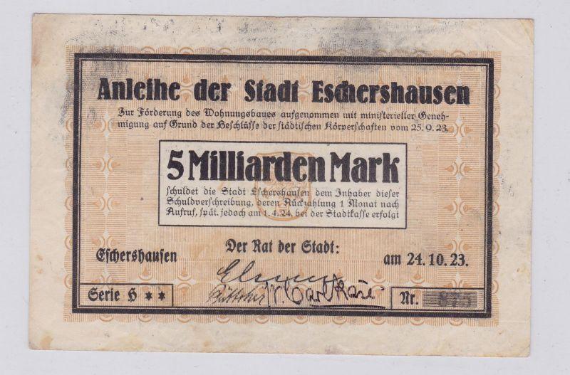 5 Milliarden Mark Banknote Inflation Stadt Eschershausen 24.10.1923 (126222)