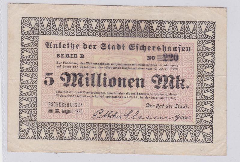 5 Millionen Mark Banknote Inflation Stadt Eschershausen 23.08.1923 (126228)