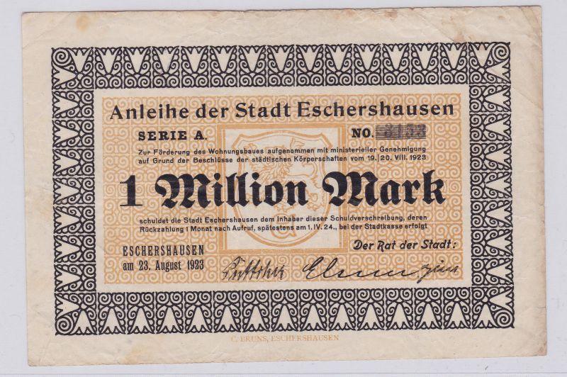 1 Million Mark Banknote Inflation Stadt Eschershausen 23.08.1923 (125905)