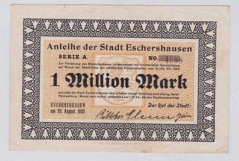 1 Million Mark Banknote Inflation Stadt Eschershausen 23.08.1923 (126316)