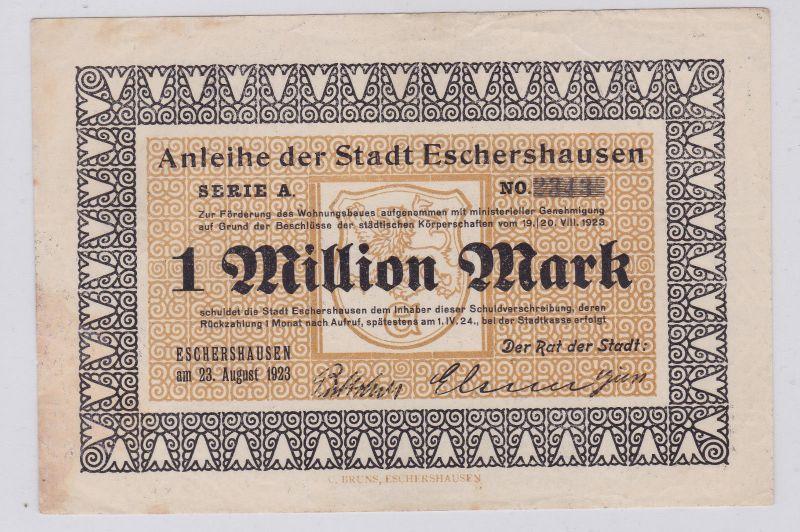 1 Million Mark Banknote Inflation Stadt Eschershausen 23.08.1923 (126365)