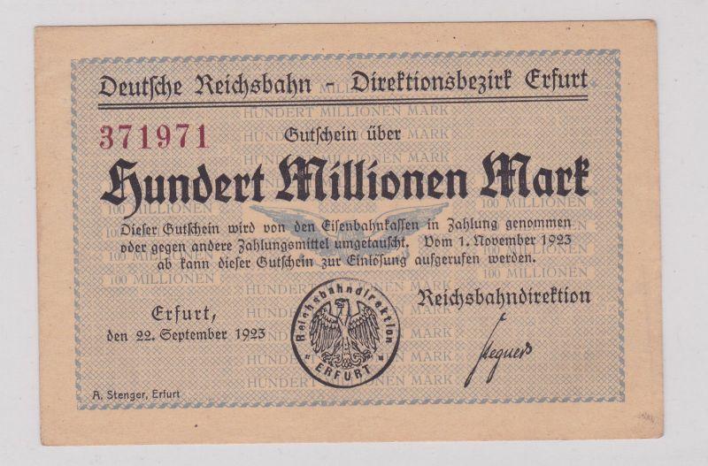 100 Millionen Mark Banknote Reichsbahndirektion Erfurt 22.9.1923  (125903)