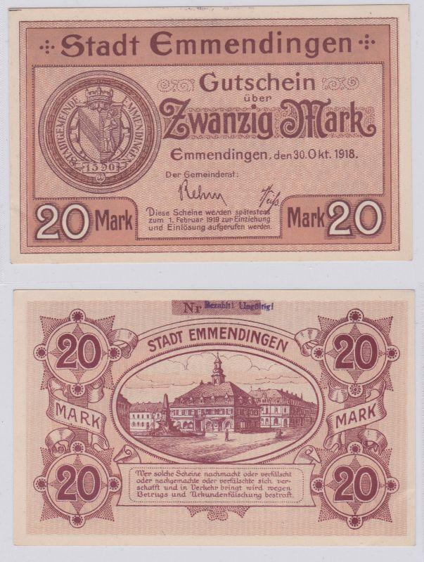 20 Mark Banknoten Notgeld Sparkasse Emmendingen 30.10.1918 (125950)